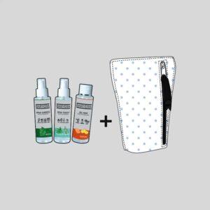 Pochette microfibra agli ioni di argento, spray tessuti, spray superfici e gel mani igienizzanti e disinfettanti